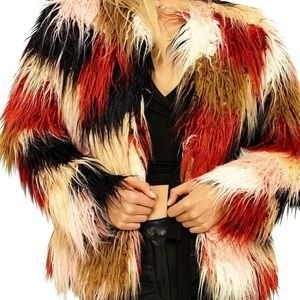 Forever 21 Multicolored Shaggy Faux Fur Coat Med